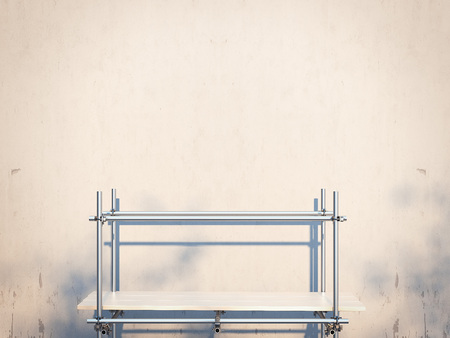 ascends: Metal scaffold near wall. Sunny day. 3d redndering