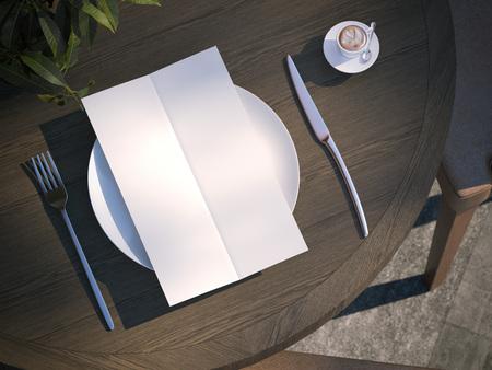 dinner menu: Dinner menu on plate at the wooden table. 3d rendering