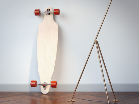 Blank wooden longboard in the interior. 3d rendering