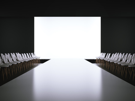 Empty white runway and chairs. 3d rendering Banque d'images