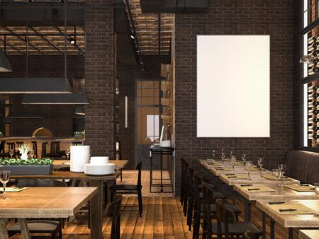 빈 캔버스와 레스토랑의 내부입니다. 3 차원 렌더링