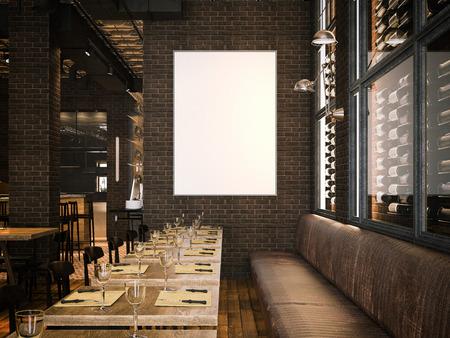 Interieur van het vintage restaurant en lege doek. 3D-rendering