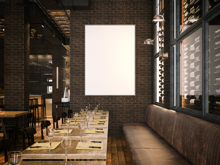 Interior of the vintage restaurant and blank canvas. 3d rendering Archivio Fotografico