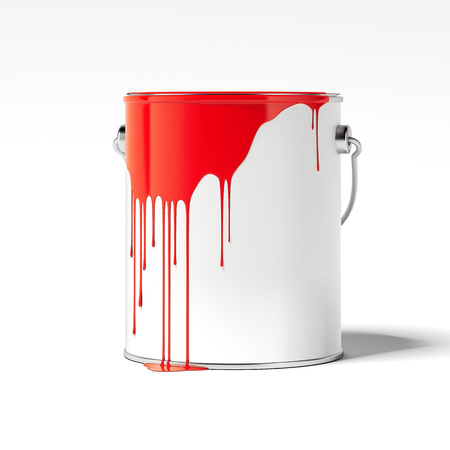 Red paint stains on a white empty can. 3d rendering