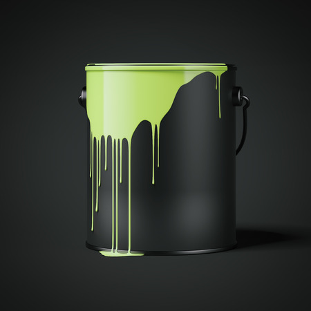 Green paint stains on a black empty can. 3d rendering
