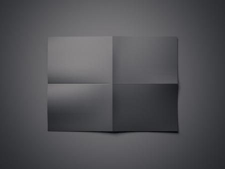 Blank black folded sheet of paper. 3d rendering