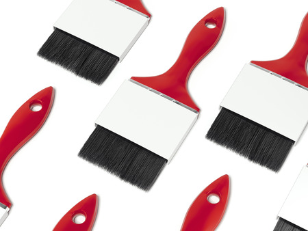 Red paint brushes with blank labels. 3d rendering