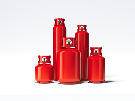 Red different types of gas bottles. 3d rendering Stock Photo - 77885731