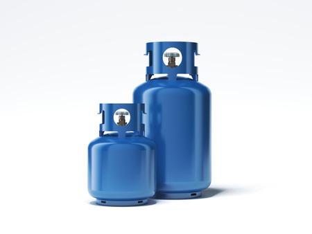 Twee soorten gasflessen die op witte achtergrond worden geïsoleerd. 3D-rendering