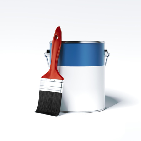 페인트 수 및 브러시. 3 차원 렌더링 스톡 콘텐츠