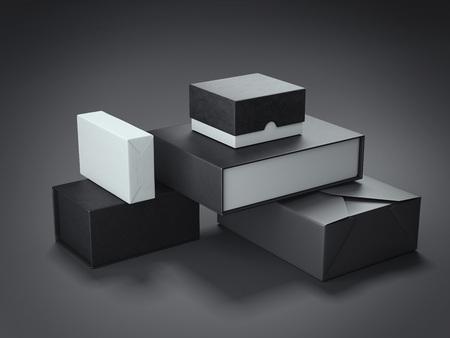 Verschillende soorten zwarte dozen. 3D-rendering Stockfoto