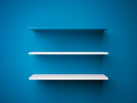 Two white shalves and blue one. 3d rendering Stock Photo