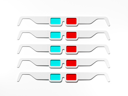 Anaglyph stereo glasses for cinema. 3d rendering