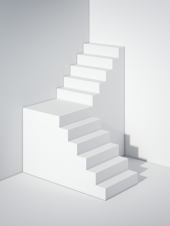 White stair. 3d rendering
