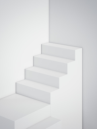 White stair in modern studio. 3d rendering