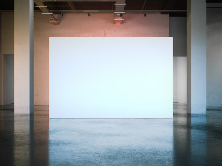 Leere weiße Wand im modernen Museum . 3D-Rendering Standard-Bild - 80416217