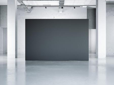 Blank black wall in modern museum. 3d rendering