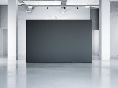 exposition: Blank black wall in modern museum. 3d rendering