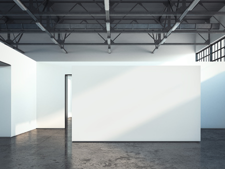 exposition: Blank white wall. 3d rendering Stock Photo
