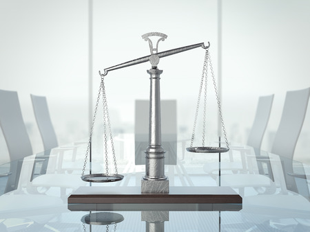 Justice scales on the glas table. 3d rendering
