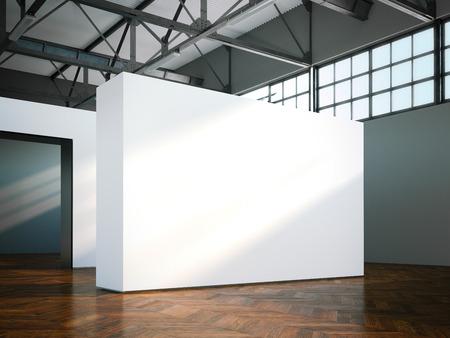 corridors: Blank wall in modern museum. 3d rendering