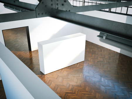 corridors: White wall in modern museum. 3d rendering Stock Photo