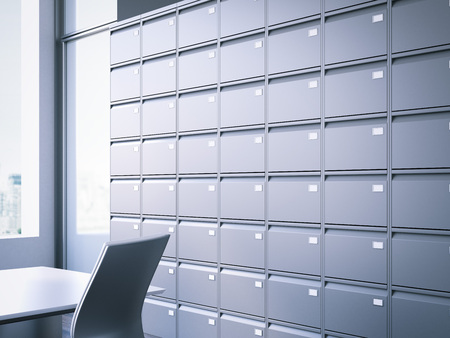 protected database: Closed filing cabinet. 3d rendering