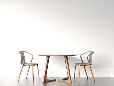 2 つの椅子と明るくモダンなインテリアのテーブル。3 d レンダリング 写真素材