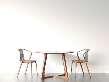 Two chairs and table in bright modern interior. 3d rendering
