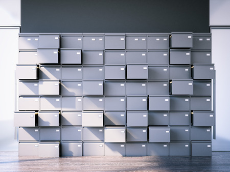 Opened filing cabinet. 3d rendering Stock Photo