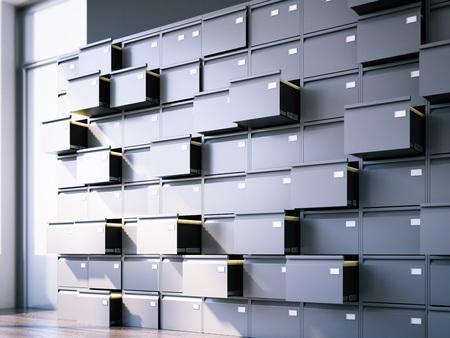 Armário de arquivo aberto no interior. Renderização 3D Foto de archivo - 80351212