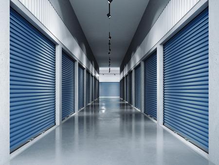 Opslagfaciliteiten met blauwe deuren.3d rendering