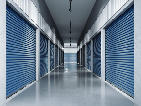 Storage facilities with blue doors.3d rendering