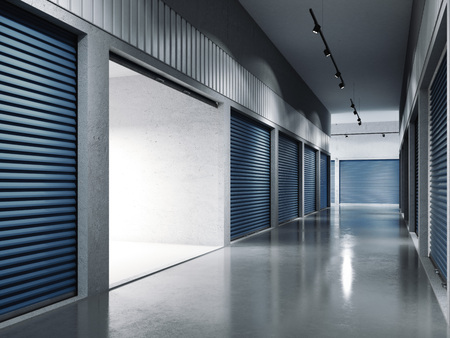 Storage facilities with blue doors. Opened door. .. 3d rendering Stock Photo