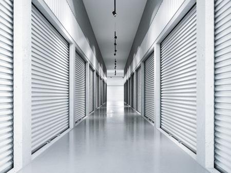 Opslagfaciliteiten met witte deuren. 3D-rendering Stockfoto