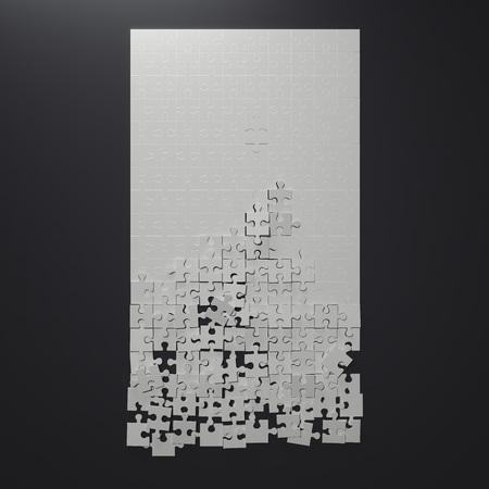 Broken white puzzle. 3d rendering