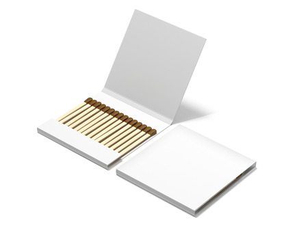 Two white boxes with wooden matches. 3d rendering