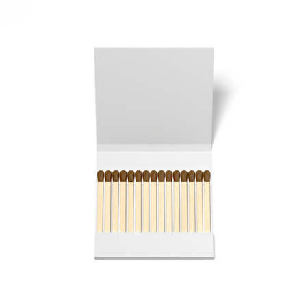 White box with wooden matches. 3d rendering Stock fotó