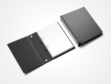 dossier: Black folder with white sheets. 3d rendering Stock Photo