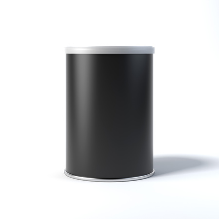 Black tin can. 3d rendering