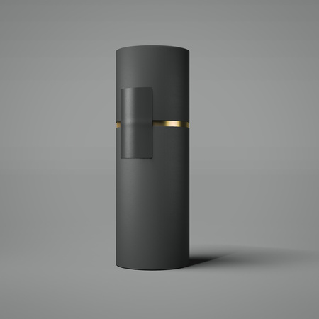 Black and gold tube. 3d rendering