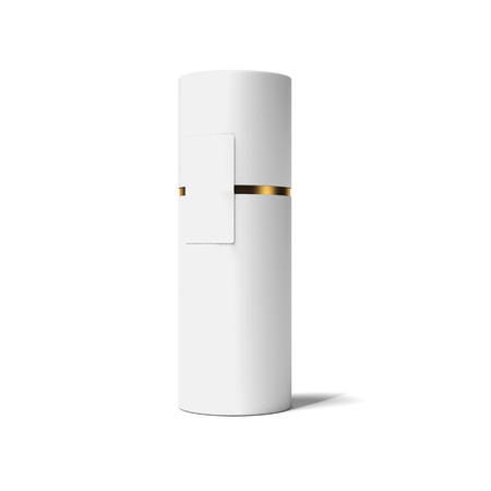 White and gold tube. 3d rendering
