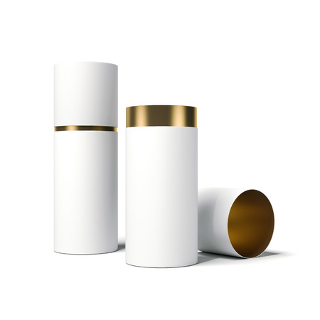 White and gold tube opened. 3d rendering Stockfoto