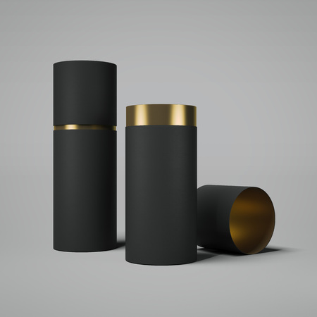 Black and gold tube opened. 3d rendering