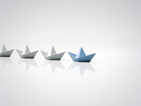 Blaues Papierschiff führend. 3D-Rendering Standard-Bild - 80448698