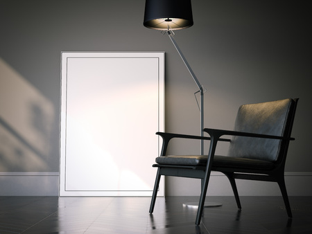 Blank white picture frame in classical interior. 3d rendering Banque d'images