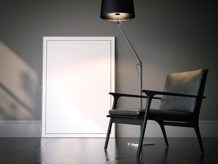 Marco blanco en blanco en el interior clásico. Representación 3D Foto de archivo - 82324057