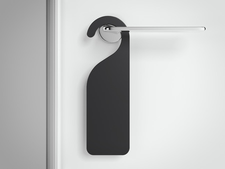 Black sign on the modern handle of door. 3d rendering