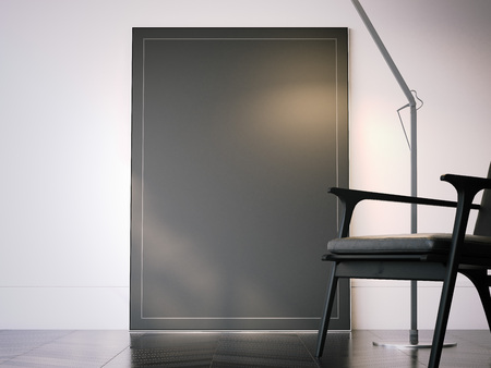 Blank black picture frame in interior. 3d rendering