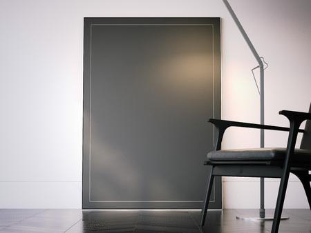 Lege zwarte fotolijst in interieur. 3D-rendering